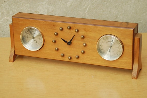 Springfield Mantel Clock Barometer In Wood And Brass