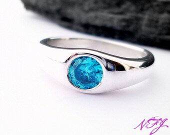 Blue gemstone contemporary ring - sterling silver