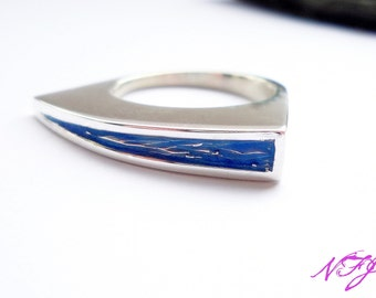 Contemporary Blue Enamel Ring - Sterling Silver