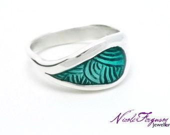 Teal Enamel Dewdrop Ring - Sterling Silver