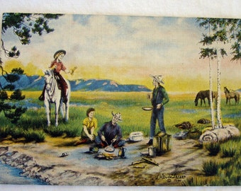The Lure of the West - Vintage Postcard