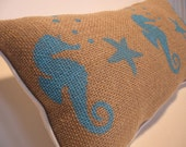 SEAHORSE RACING: Beachy Accent Burlap Pillow