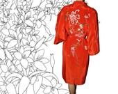 Vintage Kimono Robe Red Silk Embroidered Japan