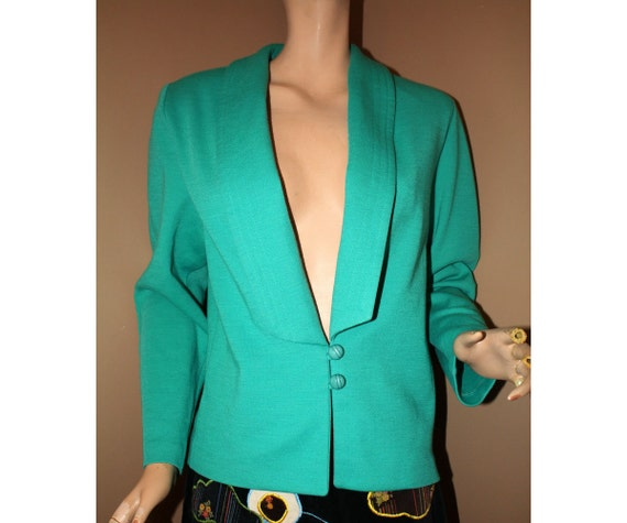 Vintage Knit Blazer Jacket Kitten Teal Green