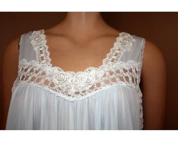 Vintage Nightgown Powder Blue Nylon Miss Elaine