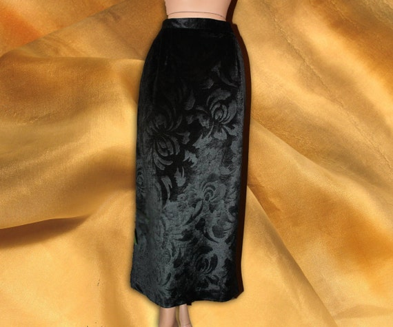Vintage Long Textured Velvet Velour Skirt Black Maxi M-L
