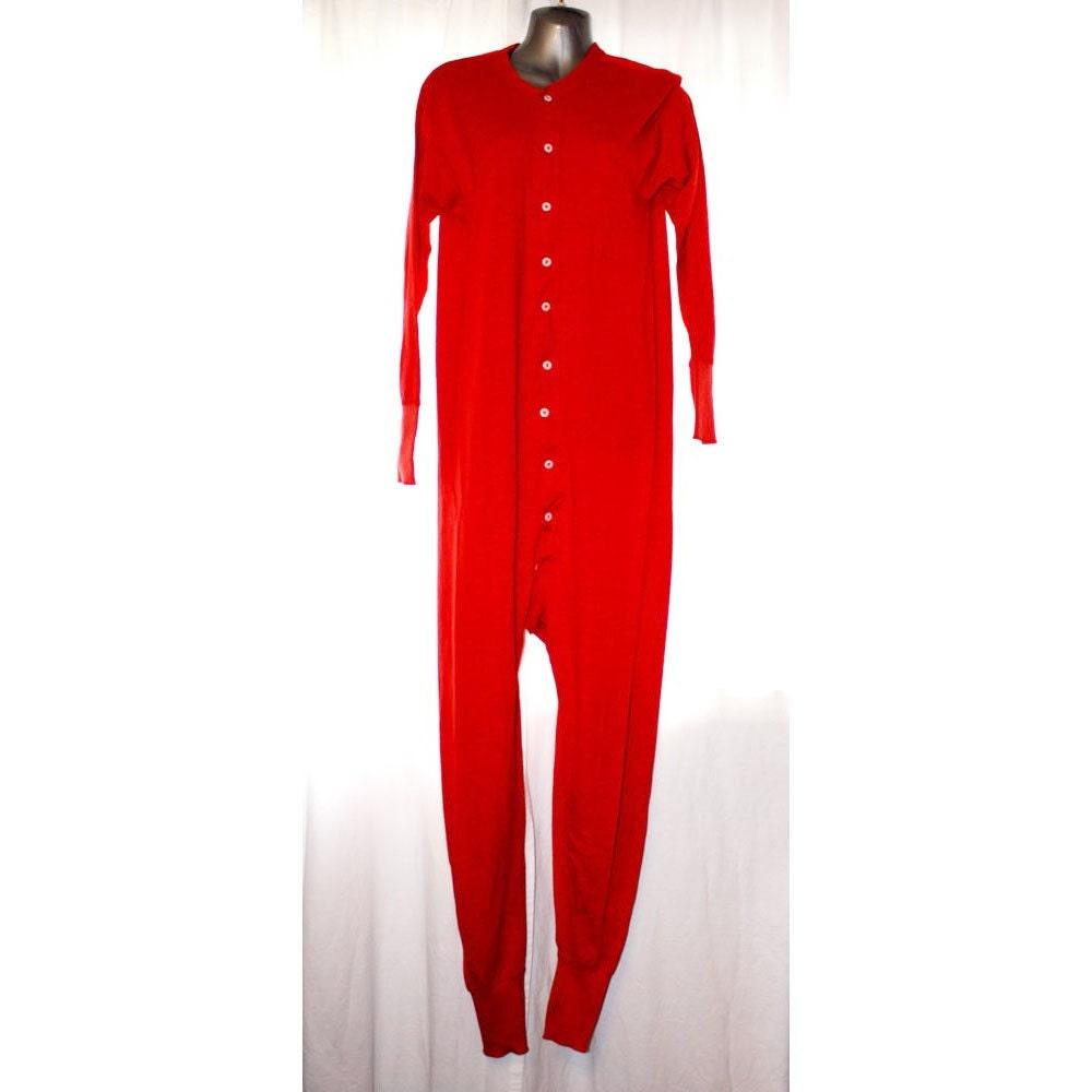 Vintage Red One Piece Onesie Long Johns Warm Underwear Mens or