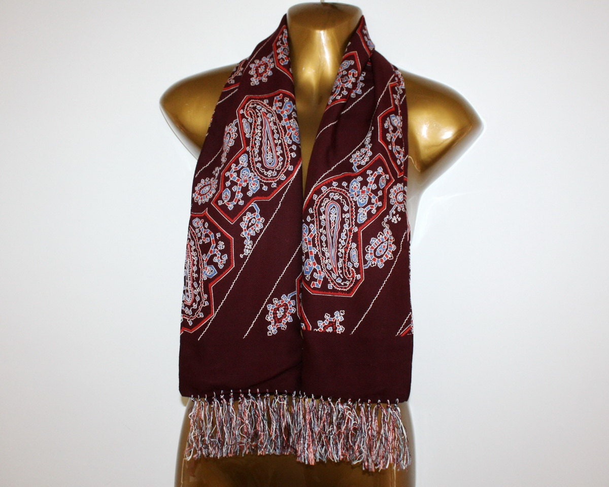 vintage mens paisley opera neck scarf wool silk by