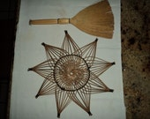 Vintage Broom and Round Wicker Wall Hangings