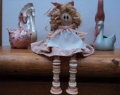 Handmade Button and Thread Spools Doll Decoration 5 Inches Tall