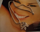 Vintage Sterling Silver 24 inch Chain Necklace with  Free Sculptured Rose  Free Ship