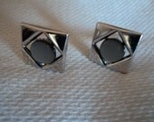 Vintage Swank Silver Cuff Links With Gray Stones