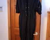 Vintage Woman's Black Jumpsuit Size M by Abraxas 100 Percent Nylon
