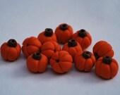 12 Little Polymer Clay Pumpkin Beads