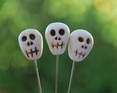 3 Polymer Clay Decorative Skull Pins