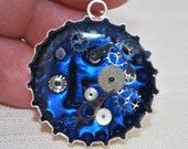 Blue Steampunk Bottle Cap Pendant
