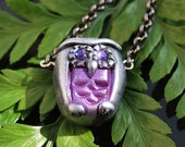Polymer Clay Owl with Purple Swarovski Crystal Eyes Necklace