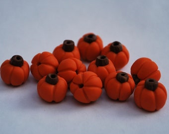 12 Little Polymer Clay Pumpkin Beads