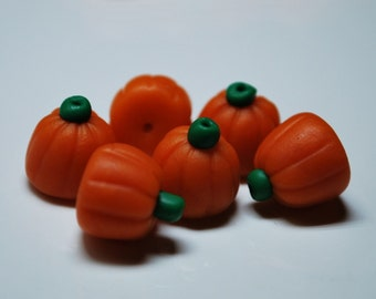6 Polymer Clay Pumpkin Candy Beads