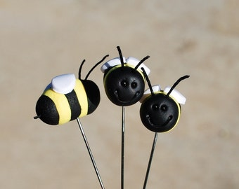 3 Polymer Clay Decorative Bee Pins