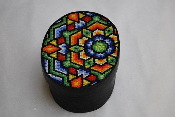 Huichol-Style Beaded Box, large