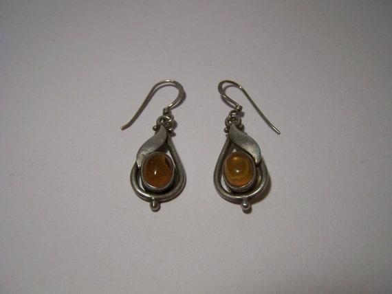 Vintage Sterling Silver & Genuine Amber Earrings Jewellery Rennie Mackintosh Style