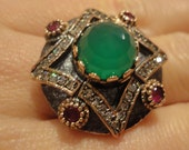 RESERVED FOR KATHERINE 925 Sterling Silver and Bronze Bloom Shaped Ring with Emerald, Ruby, Zircon by Ottoman Style
