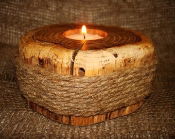 New Oak & Linen Twist Handmade Handcrafted Rustic Country Tealight Candle Holder Candlestick