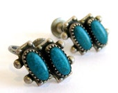 Vintage Zuni Indian Sterling Silver Turquoise Petit Point Screw Back Earrings