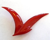 Vintage 80s Danish Modernist Red Celluloid Buch Deichmann Abstract Plastic Brooch Pin