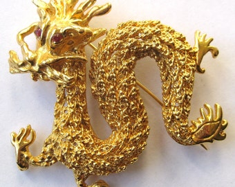 Vintage 80s Gold Chinese Year of the Dragon Rhinestone Eyes Exotic Brooch Pin