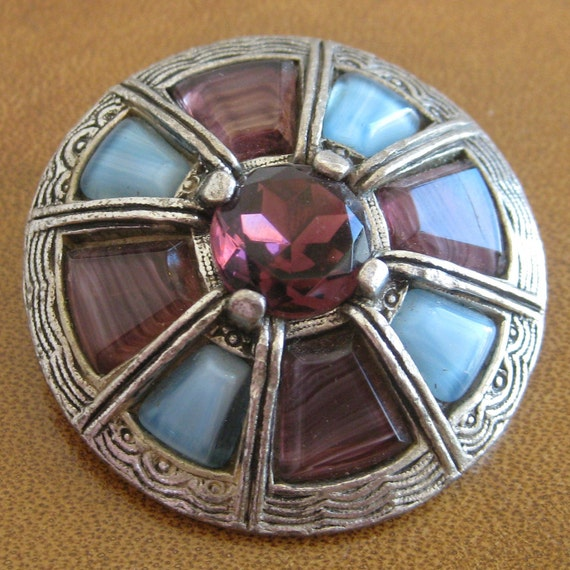 Vintage 50s Scottish Celtic Silver Purple Amethyst & Blue Stone Inlay Miracle Brooch Pin Britain Scotland