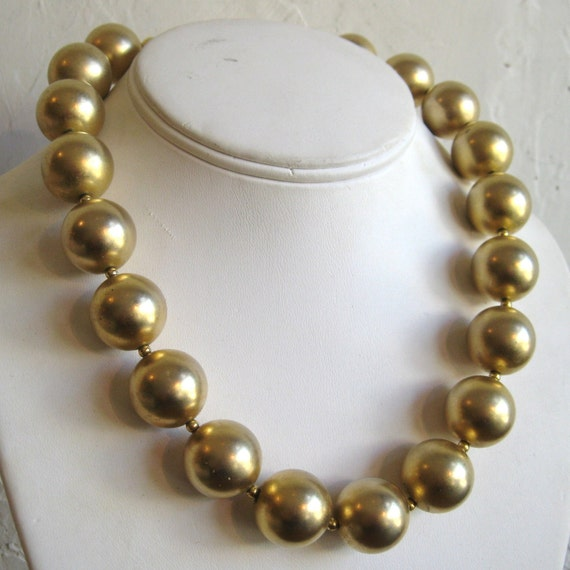 Vintage 60s Chunky Baroque Gold Bead Glamour Girl Necklace