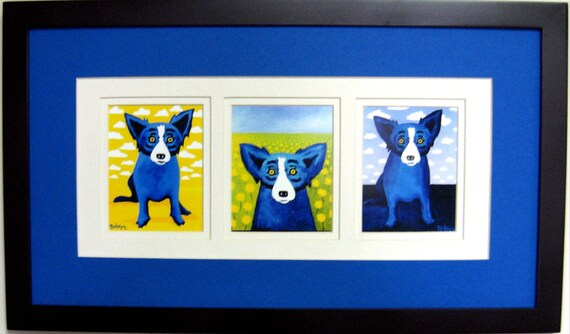 "George Rodrigue BLUE DOG ""Clouds"" Note Card Trio - FRAMED 22 in x 12 in"