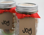 """Edible Holiday Candy Favorite - Fleur de Sel Caramels - 1lb in a Holiday Themed """"JOY"""" Jar"""