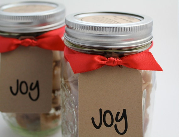 "Edible Holiday Candy Favorite - Fleur de Sel Caramels - 1lb in a Holiday Themed ""JOY"" Jar"