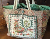 Tapestry Tote with Needlepoint -  Regal Bird