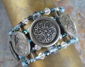 Victorian Button Bracelet Silver Blues