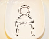 Hand Painted White Porcelain Rounded Serving Dish, Elegant Dining Chair Illustration