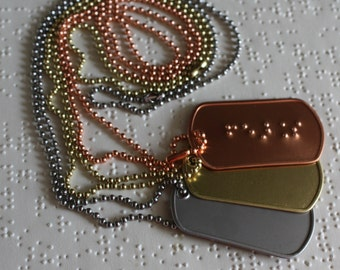 Hand embossed custom Braille military style dog tag on beaded chain