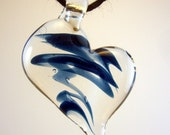 Glass Heart Pendant in Clear and Blue