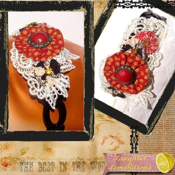 RESERVED Vintage Inspired Red Yo Yo and Crocheted Lace Headband