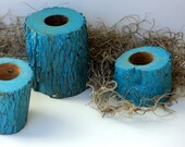 Florida Oak Candle Holders, Set Of 4 Deep Turquoise, Salvaged Wood