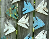 School Of 10 Miniature Beach-y Angel Fish, Nautical Wall Decor, Nursery