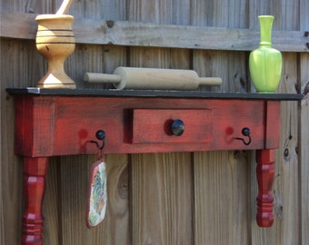 Primitive Farmhouse Style Display Shelf, Towel Bar Or Coat Rack, Headboard