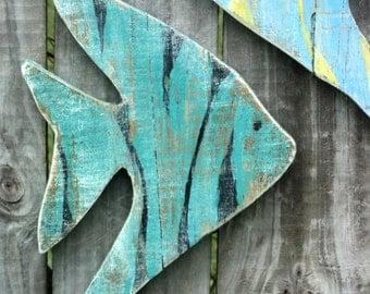 Beach-y Wooden Angel Fish, Coastal Living, Rustic Decor, Nautical