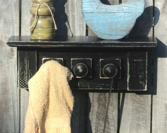 Primitive, Country Kitchen Shelf, Towel Rack, Utensil Hanger, Display And Storage