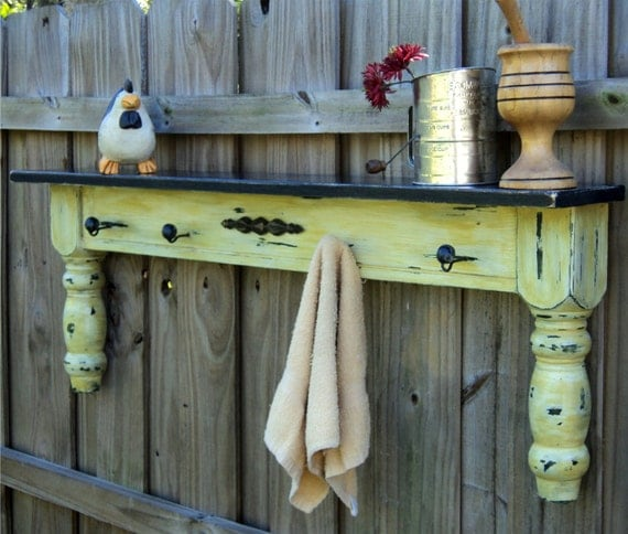 Farmhouse Display Shelf, Towel Bar, Coat Rack Up Cycled Coffee Table MUSTARD YELLOW