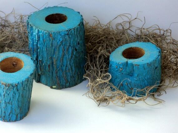 Florida Oak Candle Holders, Set Of 4 Deep Turquoise, Salvaged Wood