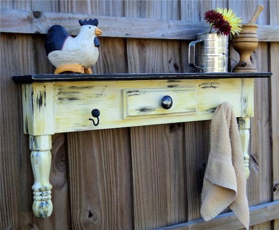 Primitive Farmhouse Style Display Shelf, Towel Bar Or Coat Rack, Mustard Yellow MADE TO ORDER